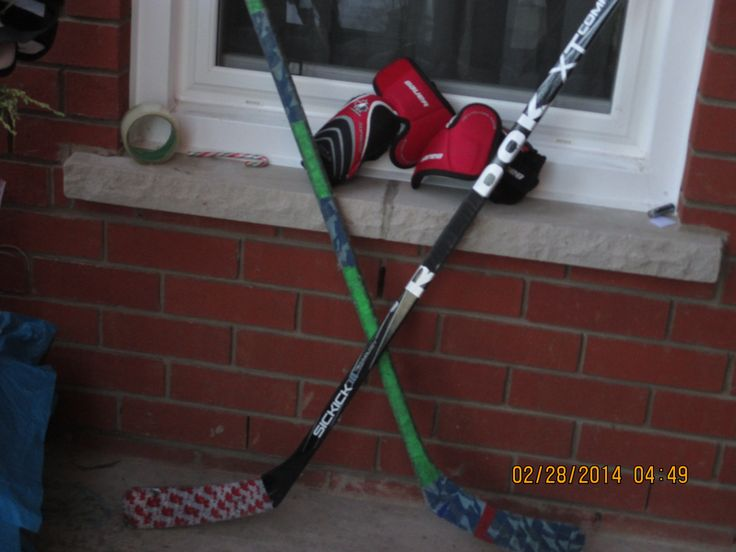 Decoration: Hockey sticks, gloves, pucks  and equipment hung around the entrance to greet guests.