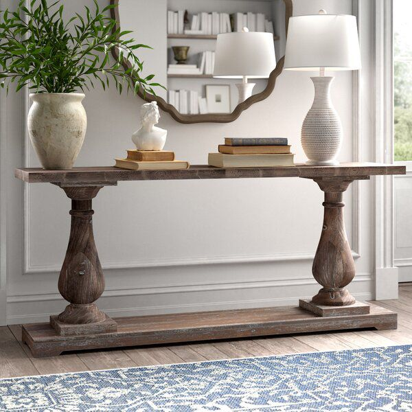 Jarrell 71 Solid Wood Console Table Wood Console Table Rustic Console Tables Entryway Table Decor Solid wood console table