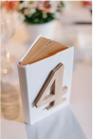 Perfect for my library wedding. House numbers on old books. Not sure what you do with double digit numbers...