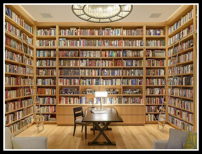 This light, modern library features floor-to-ceiling shelves that can accommodate five thousand books. It's part of a Dallas, Texas home that could be yours for only $9,750,000