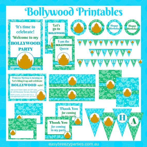 Bollywood party printable pack  Turquoise  by EasyBreezyParties