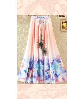 Legendary Pink And Blue Georgette Skirt.