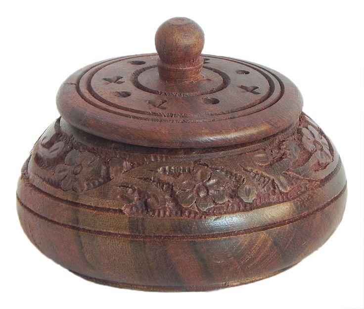Carved Wooden Kumkum Conatainer (Wood)