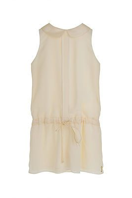 Chiffon Play Suit – Ivory. This beautifully delicate playsuit will enchant girls of all ages. It features a double pin tuck detail at the front and a classic Peter Pan collar. It gathers comfortably at the waist with a drawstring and has pretty pearlescent buttons at the rear fastening. 100% Polyester. Lining: 100% Acetate. Hand Wash or Cool Machine Wash.