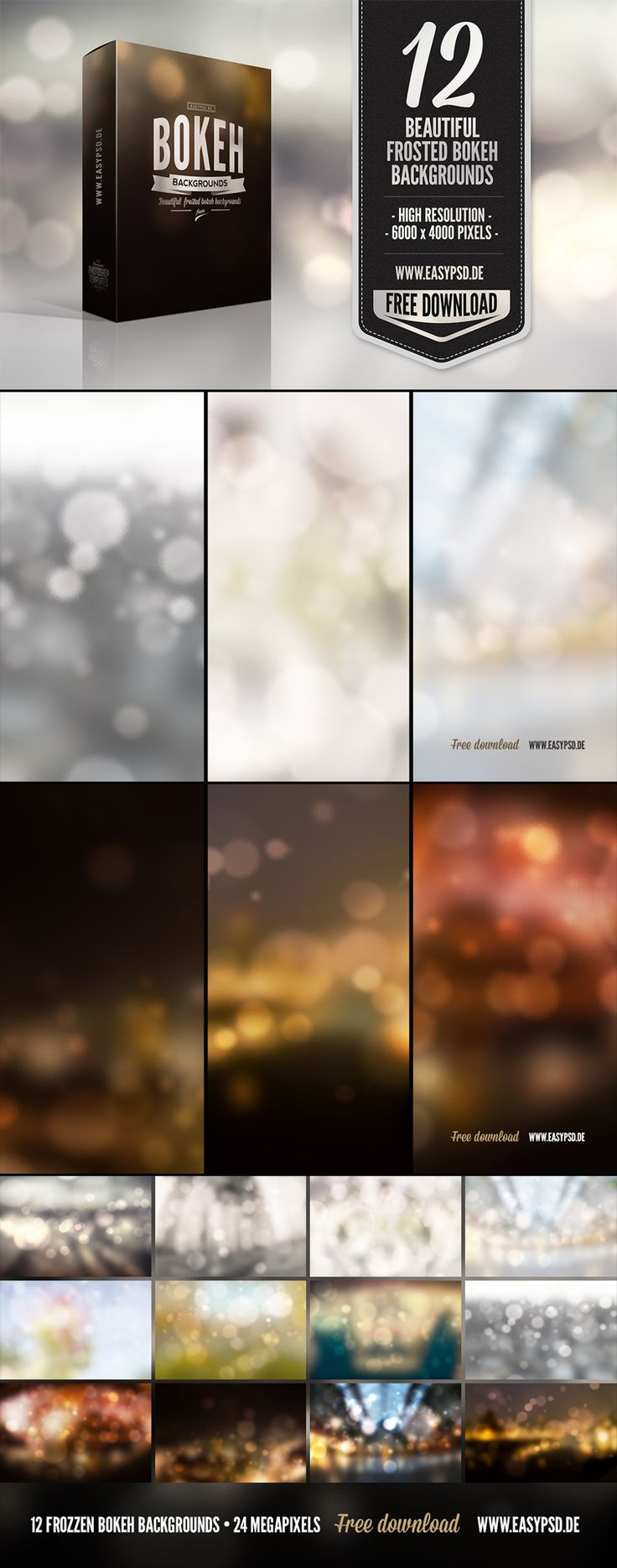 12 Free Bokeh Backgrounds. Don't mind if I do. Love bokeh effects