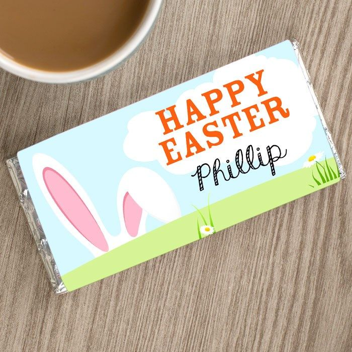 Personalised Chocolate Bar - Happy Easter and Bunny Ears | GettingPersonal.co.uk