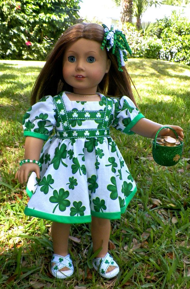 7pc St Patricks day dress clothes for all American girl dolls including Isabella