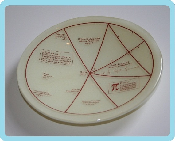 Geektastic Circle/Maths/Pi/Equations Bowl - made to order in any colour. £30.00, via Etsy.