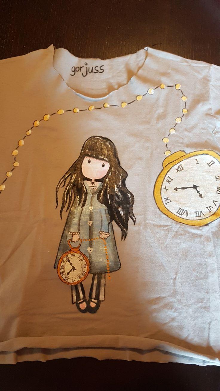 T-shirt dipinta a mano gorjuss orologio