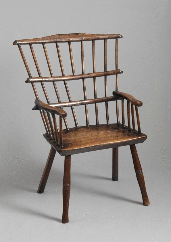 With Generous Fanned Back and Triple Comb Construction  Richly Patinated Ash and Oak   English, c.1780