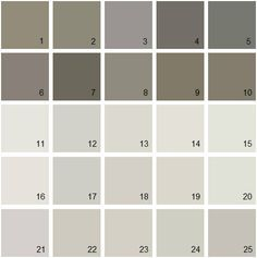 Benjamin Moore Gray House Paint Colors - Palette 061.  11. A La Mode 2109-70 12. Barren Plain 2111-60 13. Light Pewter 146414. Classic Gray 1548 15. Silver Satin 856 16. White Winged Dove 1457 17. Nimbus 1465 18. Abalone 2108-60 19. Balboa Mist 1549 20. Sheep'S Wool 857 21. Angelica AF-665 22. Apparition 860 23. Collingwood 859 24. Rodeo 1534 25. Cumulus Cloud 1550