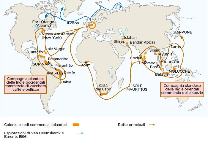 Carta geografica raffigurante le principali rotte commerciali olandesi e il loro impero coloniale