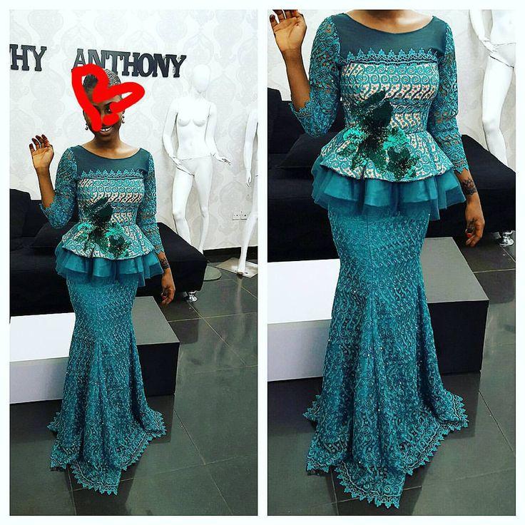 """1,748 Likes, 28 Comments - Toyin Allu(Mrs Kemjika) (@kathyanthony) on Instagram: """"Beautiful asoebi design.. peplum skirt and blouse #guipurelace #kathyanthony"""""""