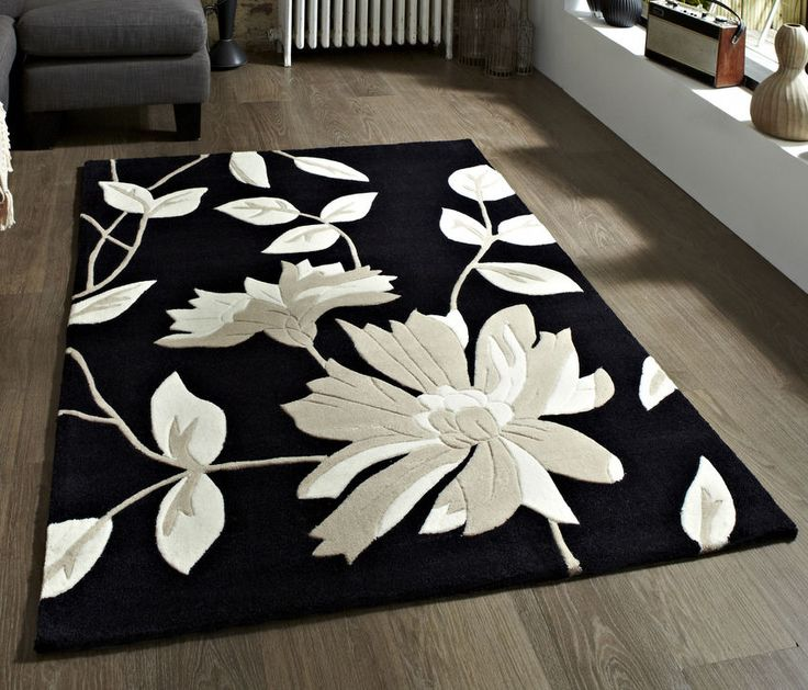 "New Modern Black Floral Rug 150 x 230cm (4'9"" x 7ft 5""FT) #2085Black #Contemporary"