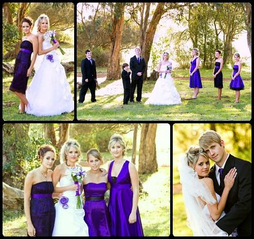 White, purple & a touch of black  www.weddingcouture.co.za