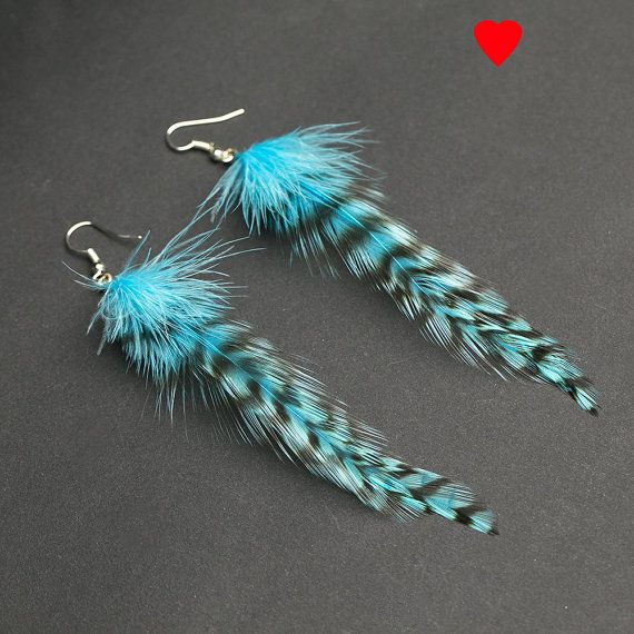 Turquoise feather earrings: turquoise by NatureFeatherJewelry