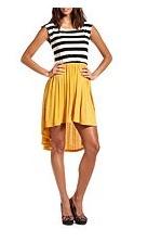Striped on Top Hi-Low Dress
