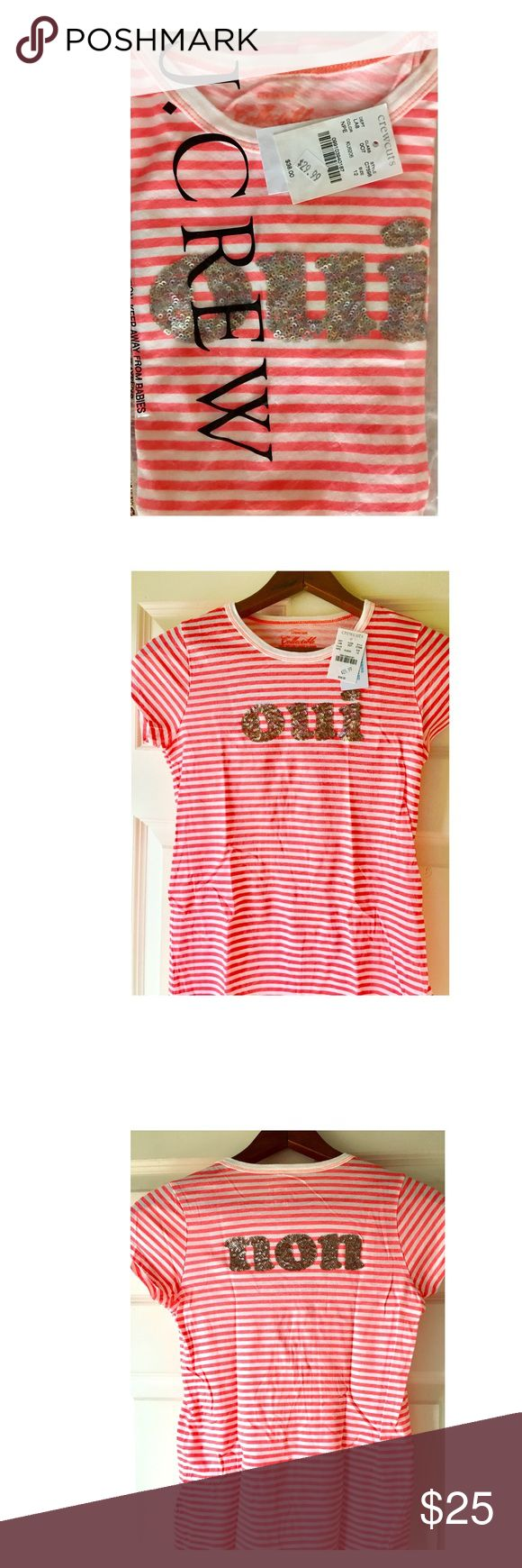 NEW Girls J.CREW 2side crystal T SOLDOUT fullprice Yes/No - Collectible T, sold out immediately @ full price in just one day!! Oui/Non! Très adorable for the fashionable Francophile, or just a fun way to let your voice be heard! The letters are hand-embellished with paillettes so there's no way this girl won't be heard! Super fun, bold stripes - ultra comfy soft cotton, too! J. Crew Shirts & Tops Tees - Short Sleeve