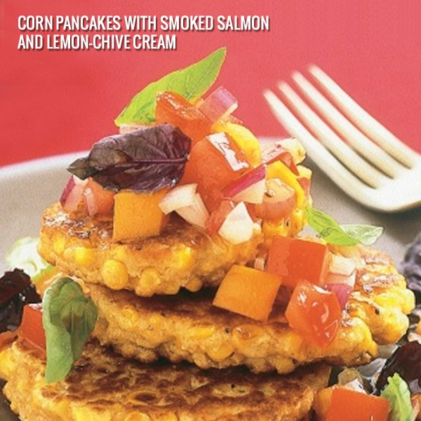 #VisionExpressIndia #Pancakes  #Salmon  Corn Pancakes with Smoked Salmon and Lemon-Chive Cream. A study has found that women who eat the most fruits and vegetables, including yellow corn, reduce their risk of developing cataracts. To boost the absorption of  eye-friendly pigments, make corn a part of your meal that provides dietary fat like olive oil, walnuts, or salmon. Image: www.taste.com.au