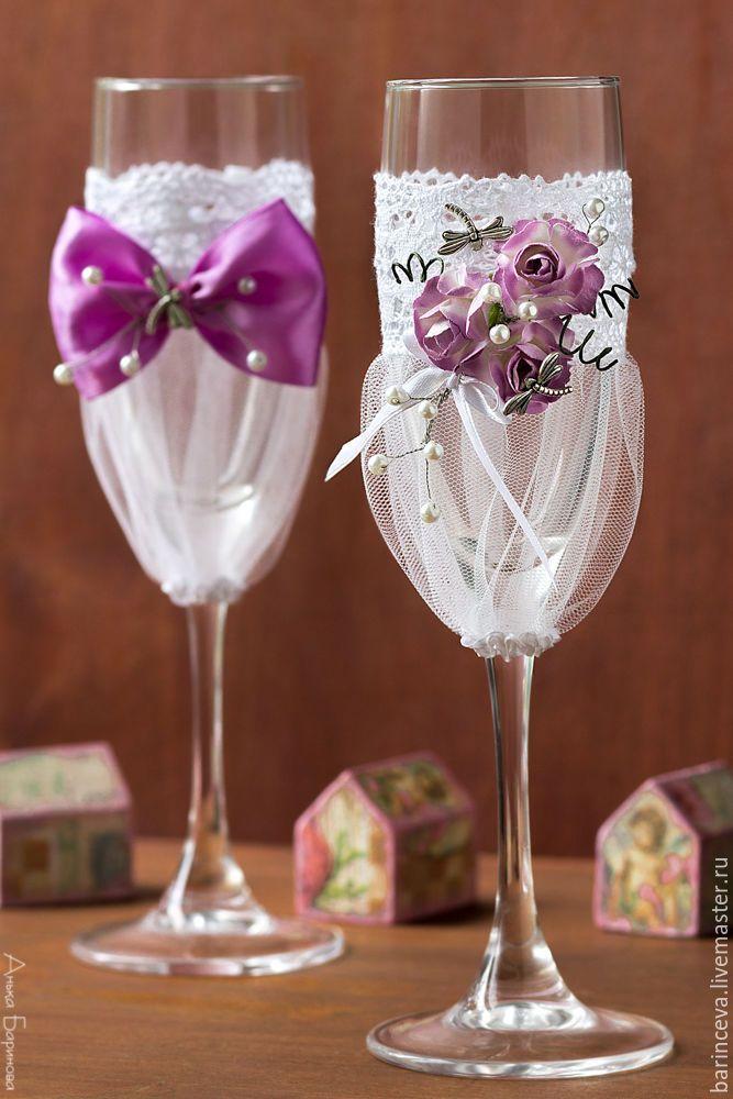 """Свадебные бокалы """"Сиреневые"""" - темно-фиолетовый, свадьба, свадебные бокалы, свадебные аксессуары"""