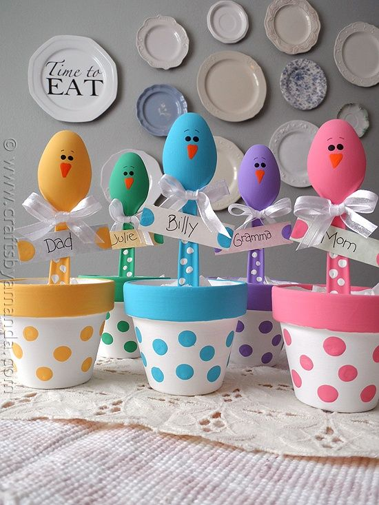 Easter Chick Craft: Colorful Place Holders - love these whimsical place holders for the kids table