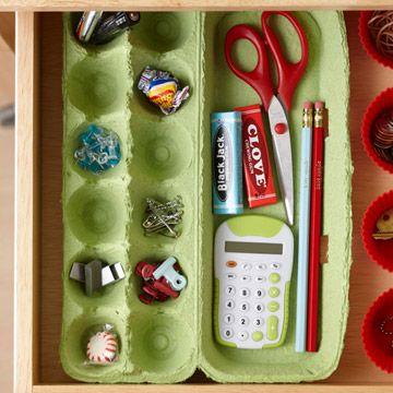 Reuse empty egg cartons as an office drawer organizer.