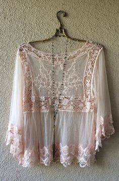 Image of Rose Pink Lace and crochet cape sleeve Juliet Goddess blouse