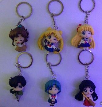 6pcs/set Anime Sailor Moon Aino Minako Tsukino Usagi Chiba Mamoru sailor mars Keychains Action Figures Toys Dolls 5cm 6PCS/set #Affiliate