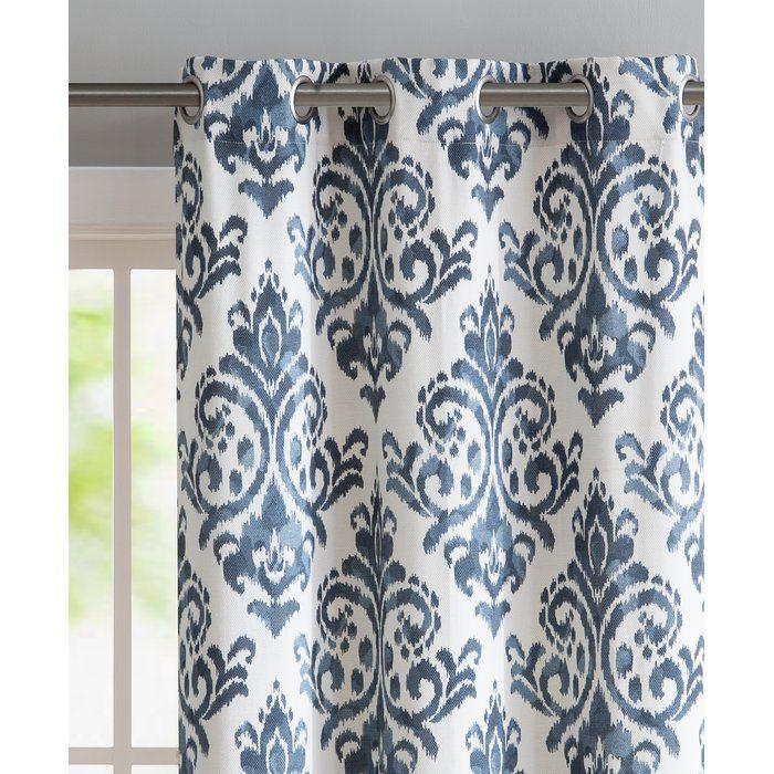 Blumenthal Damask Semi Sheer Grommet Curtain Panels