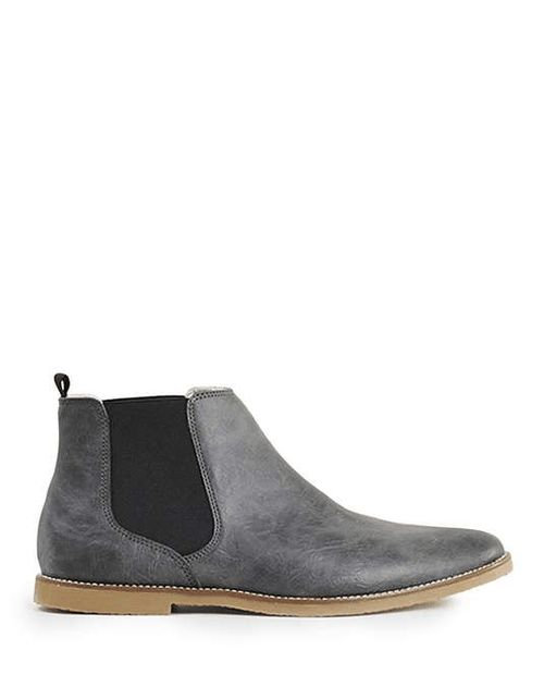 Topman | Grey Trigger Sherling Lined Chelsea Boots #topman #chelsea #boots