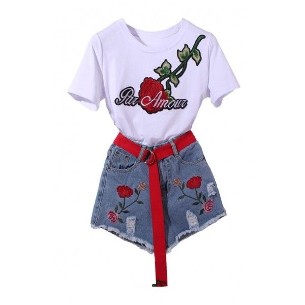 Two Pieces Embroidery Letter Floral Appliqued Short Sleeve Round Neck... (£27) ❤ liked on Polyvore featuring shorts and floral two piece