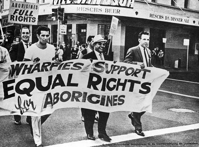 Aboriginal rights protested in Sydney  Date:  Sun, 2000-05-28 On this date in 2000 in Sydney, Australia, more than 200,000 demonstrators marched to support a campaign for social justice for Aborigines, Australia's Black minority.