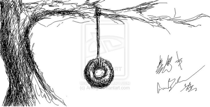 drawing of a porch swing   Tire Swing Drawing 1. tire ...