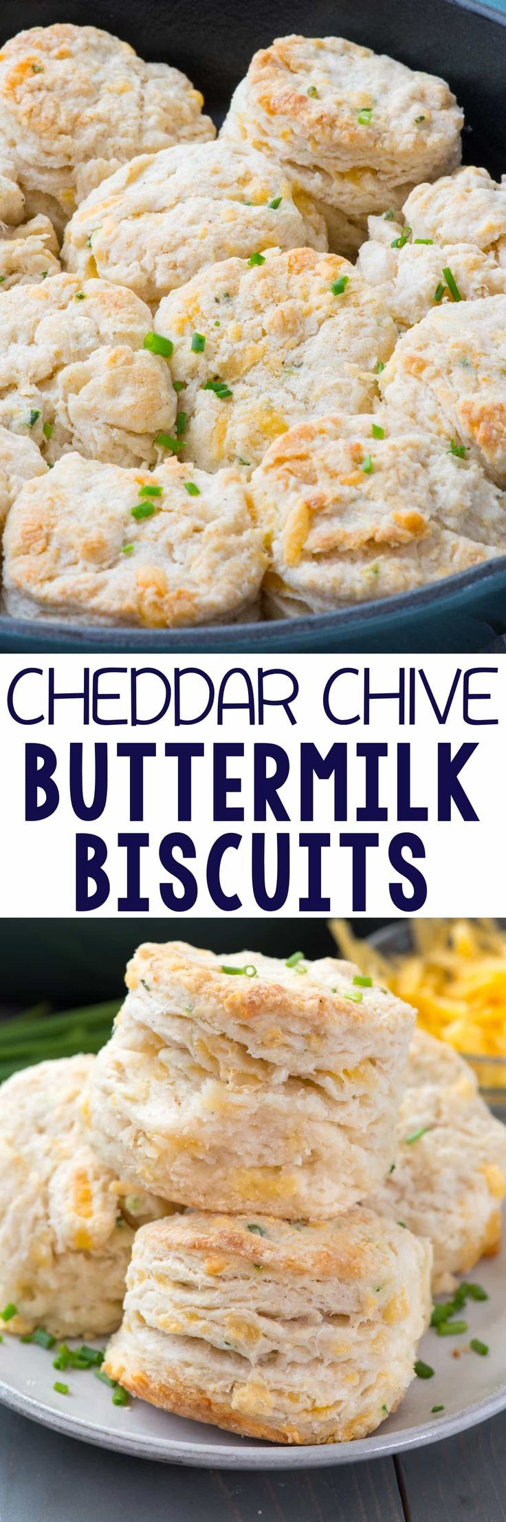 Cheddar Chive Biscuits - this easy buttermilk biscuit recipe is FULL of cheddar cheese and chives! We eat them for breakfast with bacon or as a side dish with dinner!