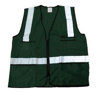 Dark Green Mesh Vest with 3M Reflective & 12 Pockets