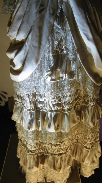 Close up of the skirt part of the wedding outfit worn by Natassja Kinski when she played Tess in Thomas Hardy's Tess of the d'Urbervilles.