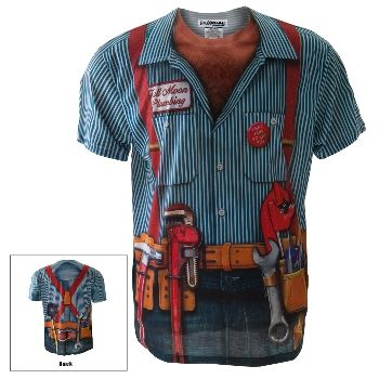 Lay some pipe in this amazing t-shirt from the masters at Faux Real, made from breathable form-fitting polyester with a photo-realistic plumber costume print on the front and back. Hairy chest, tool belt suspenders, rather graphic plumber's crack on the back, and more details that have to be seen to believed - all you need's the plunger.