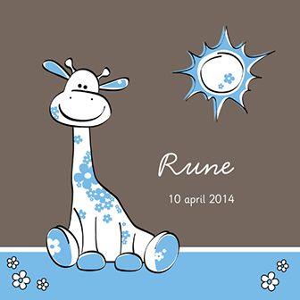 Blauwe giraffe - Geboortekaartje  www.carddreams.be
