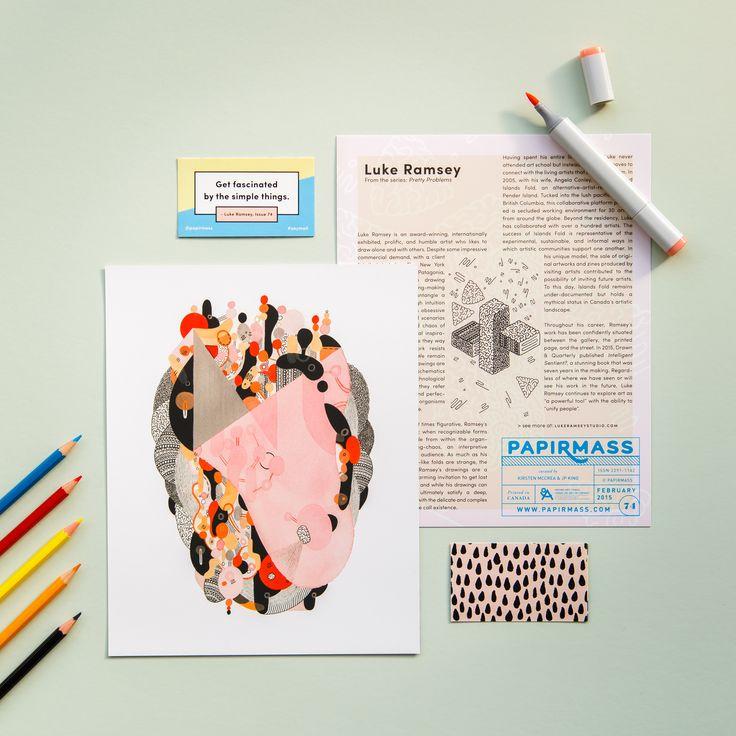 Papirmass Issue 74 featuring the work of Luke Ramsey  #papirmass #artsubscription #artwork #creativelife #happylife #artinthemail #art #artprint #subscriptionbox