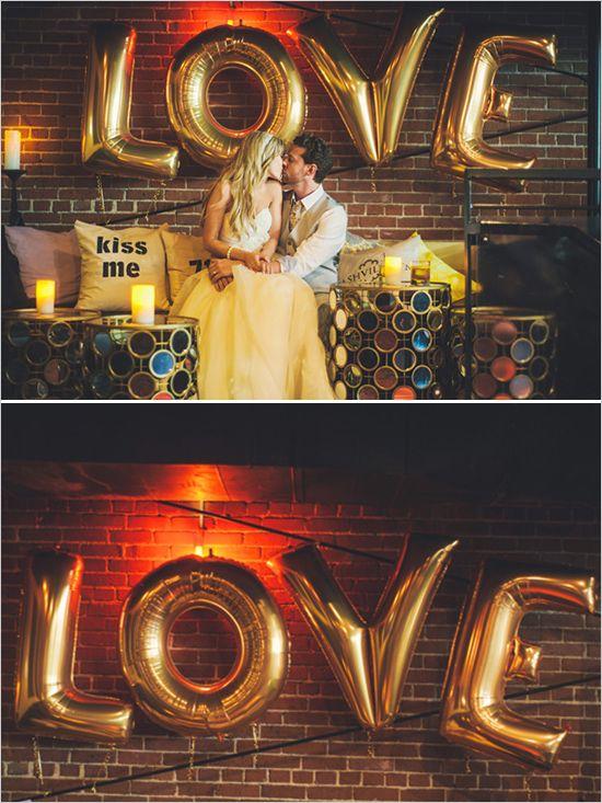 giant gold love balloon http://www.weddingchicks.com/2013/11/26/gold-and-gray-wedding/