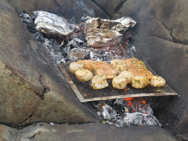Best dinner ever: seafood grilled over the fire at the beach, with