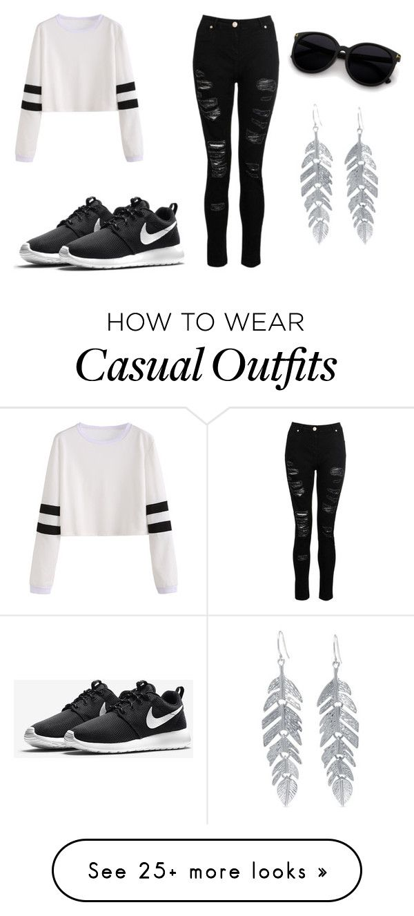 """""""Casual Day"""" by makenziejenkins on Polyvore featuring NIKE and Belk Silverworks"""