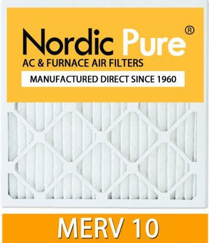 Nordic Pure 16x25x2 MERV 10 Pleated AC Furnace Air Filter, Box of 3 by Nordic Pure. $32.68. Actual Size of Filter: 15-1/2 x 24-1/2 x 1-3/4. Outperforms comparable fiberglass, washable, and poly disposable filters. Made in the USA. Hypoallergenic and antimicrobial pleated electrostatic filter material. Electrostatic air filter captures dust, pollen, dust-mite debris, mold spores, pet dander, and smog. From the Manufacturer                Nordic Pure's air filters are pleated and...