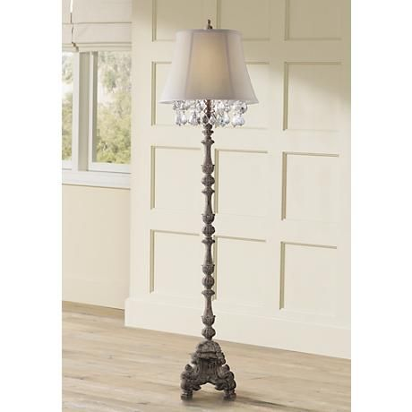 Duval french crystal candlestick floor lamp