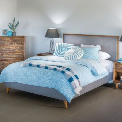 Tyrion Queen Bed Frame with Timber Trim (1660W x 2200D x 1195Hmm) RRP $799