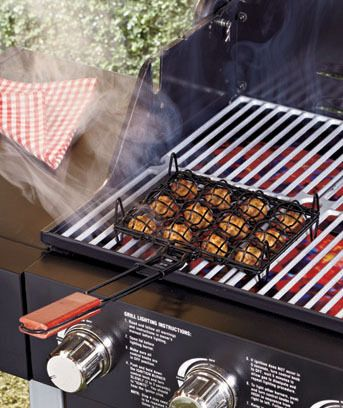 Outset Nonstick Meatball Basket now you can whip up some meatballs grilled to perfection with this clever BBQ meatball grilling basket. The basket is capable of holding up to 12 meatballs at once, so you can have a delicious dozen ready fast. $20 on amazon