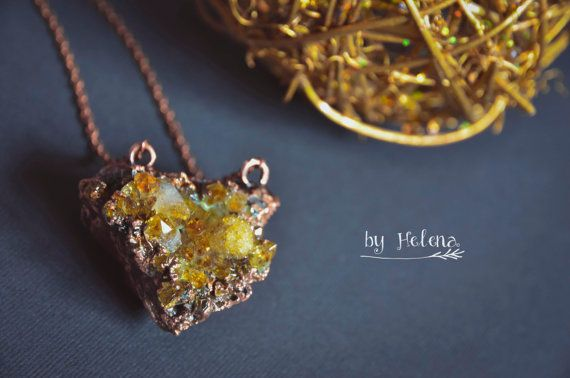 Crystal pendant, copper jewelry, natural stone, citrine, electroformed, gemstone jewelry
