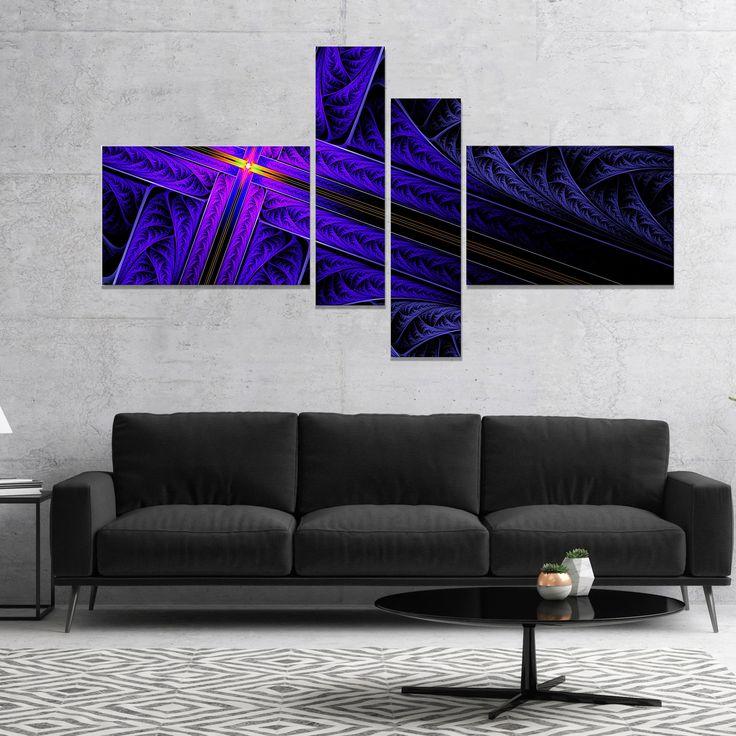 Designart 'Bright Fractal Cross Design' Abstract Canvas Art Print