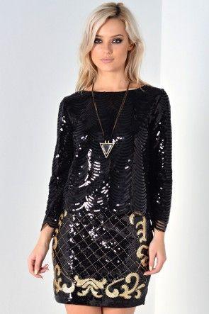 Fiona Sequin Top in Black