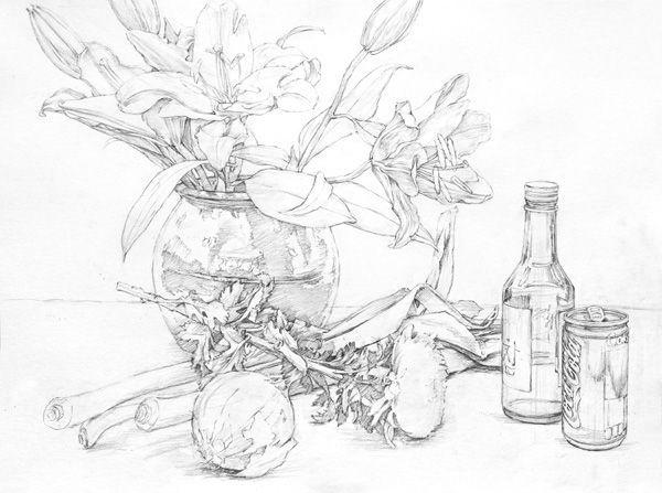 달동네 그림연구실 :: [정물수채화] 백합, 항아리, 국화, 파, 양파, 소주병, 콜라캔 과정작